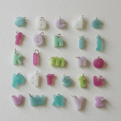 resin letter alphabet pendants